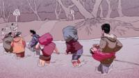 Screengrab of Syrian refugee video game. People crossing a river.