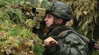 Belarusian gunner on exercise