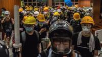 Protesters inside LegCo