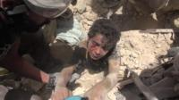 Ahmad ws rescued from the rubble
