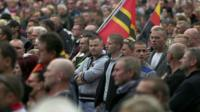 People at an anti-refugee rally in Saxony, Germany