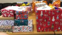 Shoe boxes at foodbank.