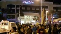 Crowds outside Bella Vista hotel