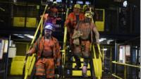Miners at Kellingley Colliery in Yorkshire