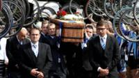 Cyclists performing a guard of honour at the funeral of Donald Lock in Worthing