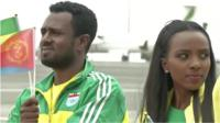 Ethiopian athletes were among the welcoming committee
