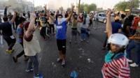 Iraqi anti-government protesters in Baghdad