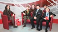 Pupils getting ready for the School Report Live TV programme