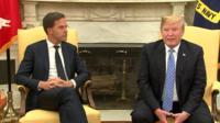 Mark Rutte and Donald Trump