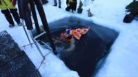 Swimming in the Antarctica