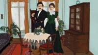 Ilustração de Albert e Mileva Einstein