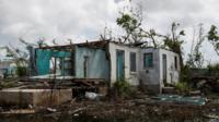 A badly damaged house in Barbuda