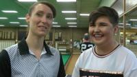 Two young international bowls players