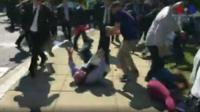 Image of the clashes outside the Turkish embassy in Washington