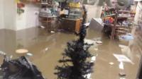 Flooded shop in Glenridding