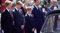 Prince Harry at his mother's funeral