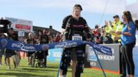Claire Lomas completing the Great North Run