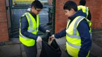 Boys litter-picking