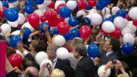 Balloons fall on Convention floor