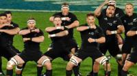 The All Blacks peforming the traditional Haka tribal dance