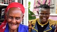 Photo composite shows septagenarian Cecilia Wangari car mechanic and Ghanaian singer Wiyaala