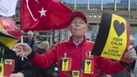 Man attending peace march in Brussels