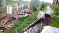Collapsed road in China