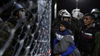 Migrants at the Greek-Macedonian border near Idomeni in Greece