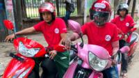 3 women scooter driver