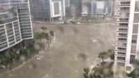 Brickell Avenue in downtown Miami flooded