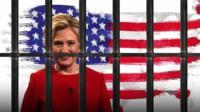 Рисунок Хиллари Клинтон за решеткой