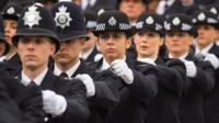 New recruits marching in police passing out parade