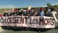 Protesters in Calais