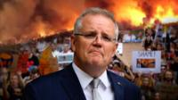 Composite image of Scott Morrison, bushfires and protesters.