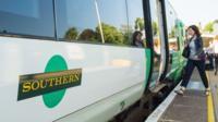Woman boards Southern train