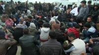 Sit in protest in Idomeni, Greece