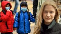Алина Исаченко и дети в масках