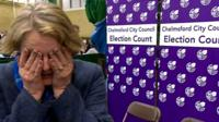 Conservative MP Vicky Ford is visibly upset during a BBC interview as the Tories lose a comfortable majority in Chelmsford.