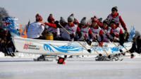 Ice dragon boat racing