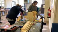 Women doing carpentry