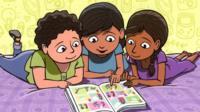 Cartoon of girls looking at a comic book