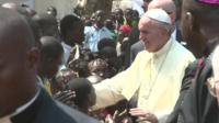 Pope Francis in Bangui refugee camp