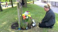 Martine Johnson at her brother's memorial