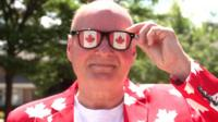 High school teacher Dave Suchanek is so patriotic about Canada, he's created an alter ego: Flagman