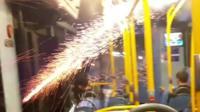 Firework on bus