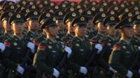 Soldiers marching in Beijing