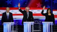 Biden, Sanders and Harris at a Democratic debate
