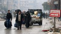 Fleeing violence in Aleppo