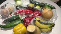 Fruit and vegetables in plastic