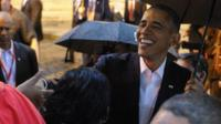 President Barack Obama greeting people in Old Havana